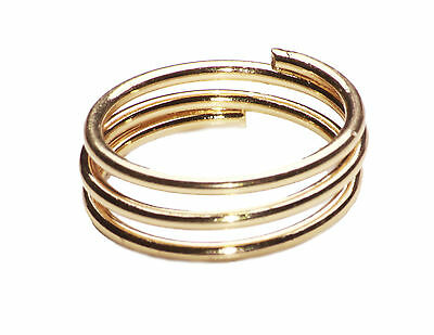Classy Austere Gold Tone Triple Ring Minimalist Chic Timeless Piece (Cl26)