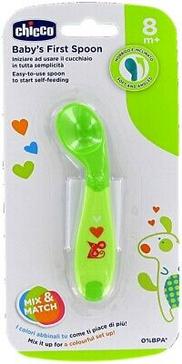 CHICCO 0% BPA BABY FIRST SPOON 8m+ IDEAL FOR LET HIM START TO  TRY BY HIMSELF