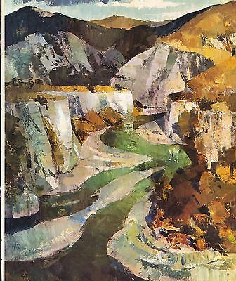 """1964 Vintage New Zealand Color Art Plate """"AWATERE RIVER"""" WOW McIntyre Lithograph"""
