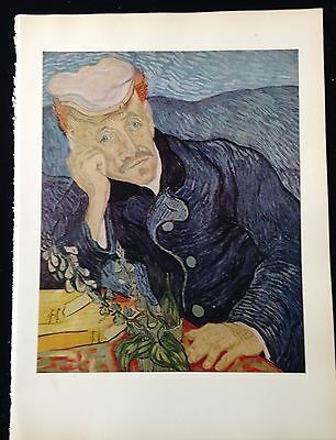 """1950 Vintage Full Color Art Plate /""""THE BEDROOM at ARLES/"""" by VAN GOGH Lithograph"""