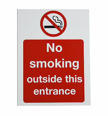"""""""No smoking outside this entrance"""" A5 Self Adhesive Sticker Sign (24-14)"""