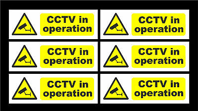 Pack Of 6 Warning  CCTV In Operation Surveillance Sign / Sticker 150x50mm