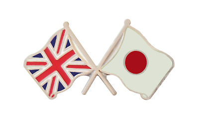 Japan Flag & United Kingdom Flag Friendship Courtesy Pin Badge - T264X
