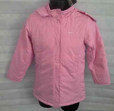 Nike Girls Hooded Padded Jacket Coat Top Size Medium Pink Brand New with tags