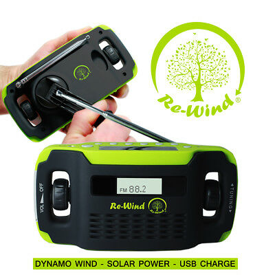Re-Wind DSP5020G Wind-Up & Solar Powered ECO Friendly Radio - Built-in LED Torch