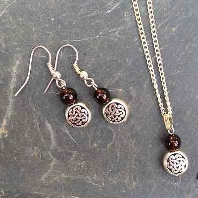 Garnet Celtic silver earrings and pendant. Irish gift Jewelry. Scottish art