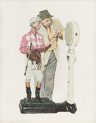 "1977 VINTAGE ""WEIGHING IN"" ARCARO NORMAN ROCKWELL MINI POSTER COLOR Lithograph"