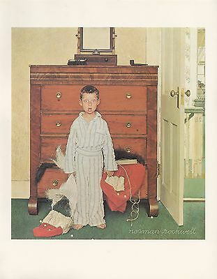 "1977 VINTAGE ""DISCOVERING SANTA"" by NORMAN ROCKWELL MINI POSTER COLOR Lithograph"