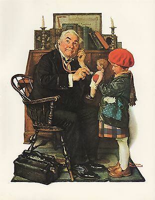 "1977 VINTAGE ""DOCTOR AND DOLL"" by NORMAN ROCKWELL MINI POSTER COLOR Lithograph"