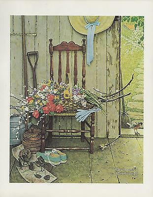 "1977 VINTAGE ""SPRING FLOWERS"" NORMAN ROCKWELL MINI POSTER COLOR Art Lithograph"