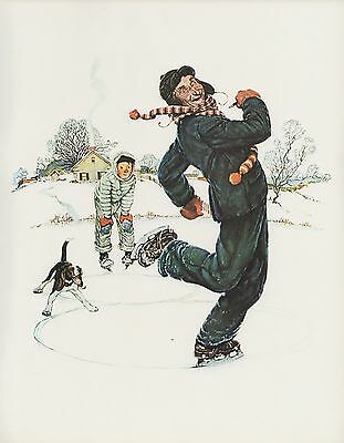"1977 VINTAGE ""GRANDPA & ME"" WINTER NORMAN ROCKWELL MINI POSTER COLOR Lithograph"