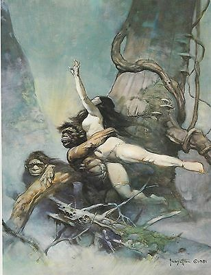 "1985 Full Color Plate /""Tarzan Kills Lion/"" by Frank Frazetta Fantastic"