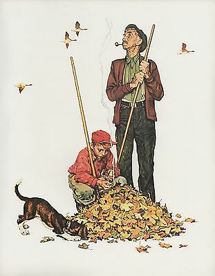 "1977 VINTAGE ""GRANDPA & ME"" AUTUMN NORMAN ROCKWELL MINI POSTER COLOR Lithograph"