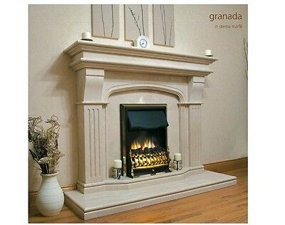 "Marble Mantel - Honed - Granada Doublehearth 67"" Wide Crema Marfil"
