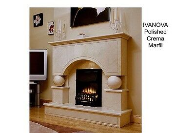 "Marble Mantel - Polished - Ivanova 67"" Wide Crema Marfil"