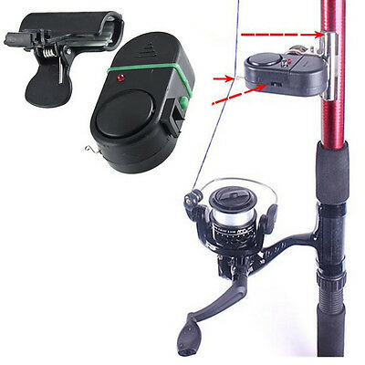 Electronic LED Light Fish Bite Sound Alarm Bell Clip On Fishing Rod XICA