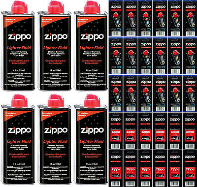 6 Zippo 4oz Fuel Fluid and 18 Cards Flint (108 Flints) & 12  Wicks Value Pack