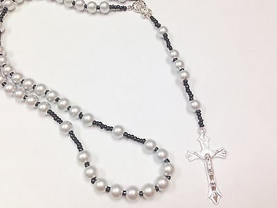 Silver Beads Catholic Rosary Necklace Prayer Crucifix Cross