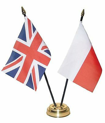 UK & AND POLAND Friendship TABLE FLAGS with GOLDEN BASE Polish british flag