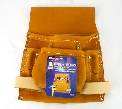 WESTWARD 6NE33 8 Pocket Tan Top Grain Leather Carpenters Nail and Tool Pouch PW