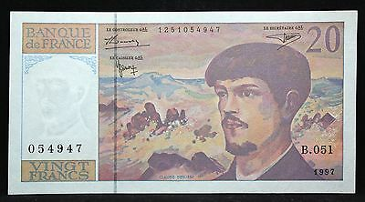 FRANCE 20 FRANCS P151 1997 MOUNTAIN DEBUSSY PRE EURO UNC FRENCH MONEY BANK NOTE