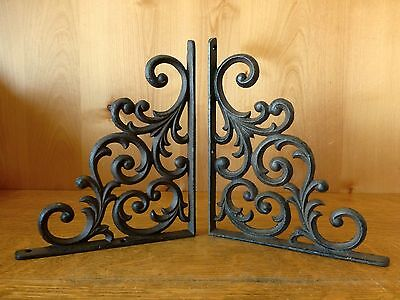 "2 BROWN ANTIQUE-STYLE 9.5"" CAST IRON SHELF BRACKETS braces rustic LEAF & VINE"