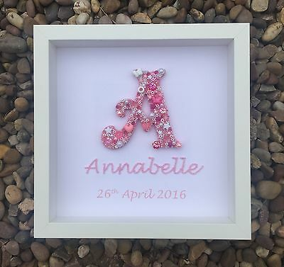 Personalised Girl Name Initial Picture - New Arrival Newborns Christenings Baby