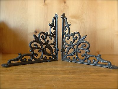 "2 BROWN ANTIQUE-STYLE 9.5"" CAST IRON SHELF BRACKETS garden rustic ORNAMENTAL"