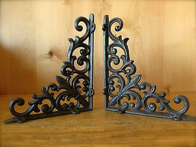 "2 BROWN ANTIQUE-STYLE 9"" CAST IRON SHELF BRACKETS brace garden VINE FLEUR DE LIS"