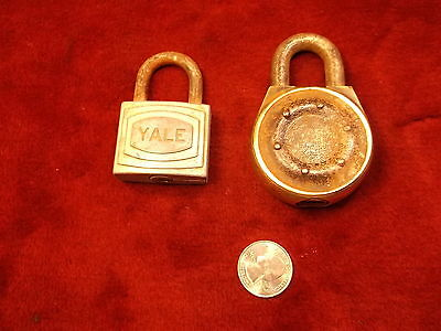 #49 of 52, PAIR OF VINTAGE ANTIQUE PADLOCKS, LARGE FRAIM WITH BRASS RING, YALE