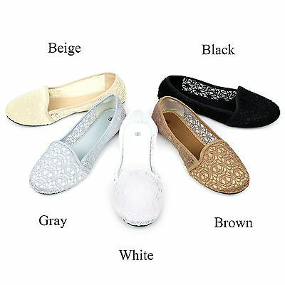 90343c1c5 New Womens Lace Crochet Ballet Flat Comfy Slip On Loafers Ballerina Flats  Shoes