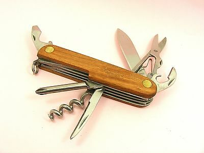 Stainless Steel 5-7 Function Wood Cover MULTI TOOL ~Knife/ Screw Driver/ Opener~