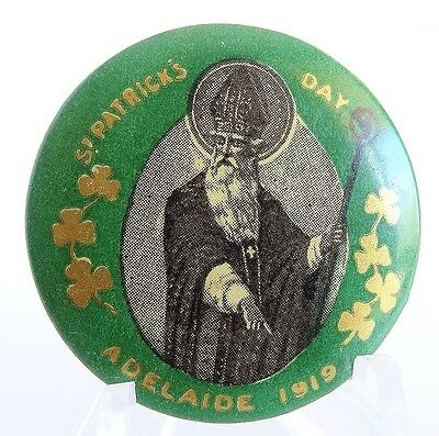 Vintage Tin Badge Pin Back St. Patrick's Day Adelaide 1919 Excellent Cond 65