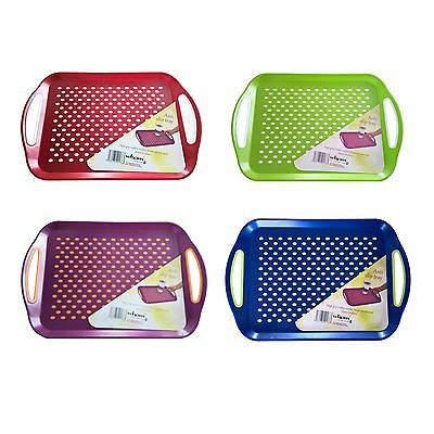 WHAM Anti Slip Plastic Serving Tray High Grip Rubber Surface Non-Slip Both Sides
