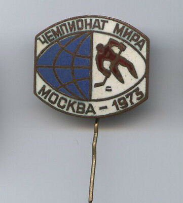 Orig.pin     Ice Hockey World Championship USSR/Russia 1973  -  OFFICIAL LOGO !!