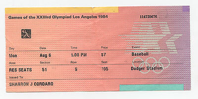 Orig.ticket  Olympic Games LOS ANGELES  1984  -  BASEBALL  1/2 Final`s  !!  RARE