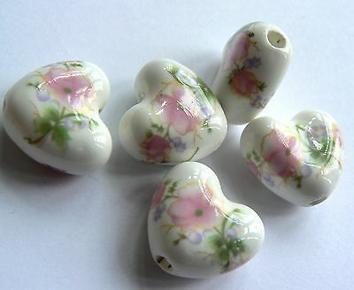 No P&P Bead Porcelain Puffed Heart 20mm White with Pink Flowers x 5 beads
