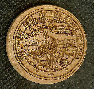 Vintage Wooden Nickel Great Seal Of The State Of Iowa