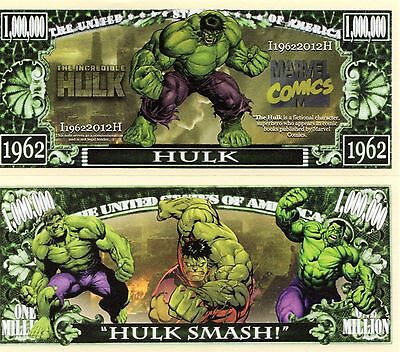The Incredible Hulk - Marvel Comics/Movie Character Million Dollar Novelty Money