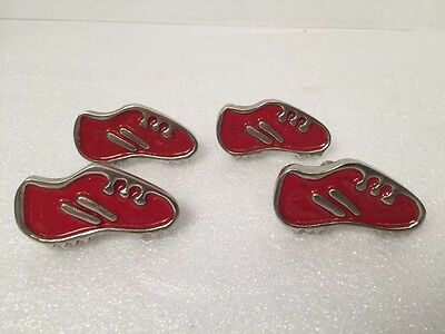 Red Silver Vintage Metal Football Cleat Drawer Pull Knob Set Of 4 -Kids Room