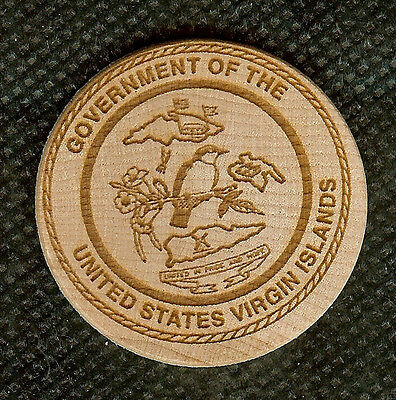 Vintage Wooden Nickel Great Seal Of The Government Of The Us Virgin Islands