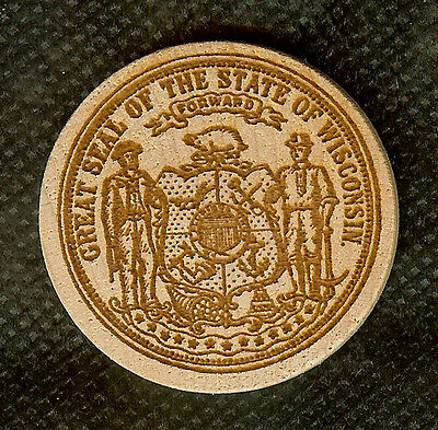 Vintage Wooden Nickel Great Seal Of The State Of Wisconsin