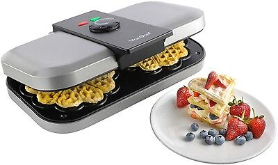 VonShef Electric Double Belgian Waffle Maker Iron Non Stick Stainless Machine