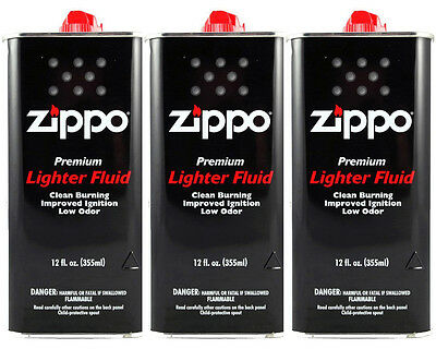 Zippo Premium Lighter Fluid 12 fl oz. (355ml) For All Zippo Lighters (Pack Of 3)