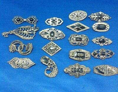 Vintage ANTIQUE Art Deco Brooches Pot Metal Black stone and Silver tone (S91)