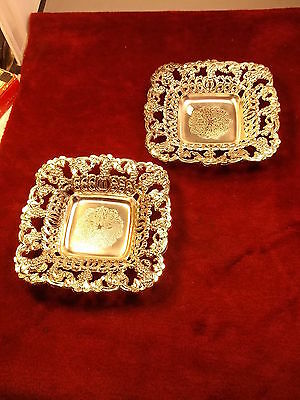 Nice Pair Of Old Vtg Japan Made Silverplated Decorative Candy/nut Bowls, Square