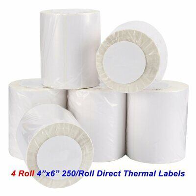 4 Rolls 4x6 Direct Thermal Shipping Labels 250/Roll For Zebra 2844 Eltron ZP450