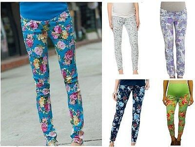 Maternity leggings,Maternity pants,floral flower belly elastic waist trousers