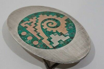 B495 Superb 60's Mexico Modernist Sterling Turquoise Mix Metales Belt Buckle POY