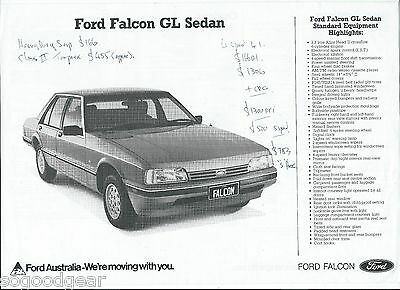 FORD FALCON XF SALES BROCHURE single page double sided, prices written on [VS]